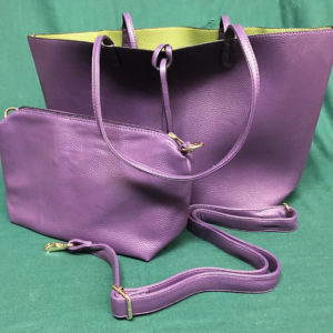 Purple and Green Reversible Purse with Small Bag